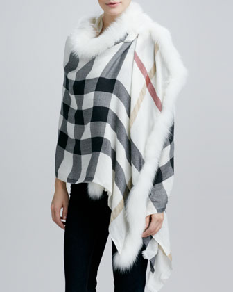 Fox Fur-Trim Woven Check Scarf, Ivory