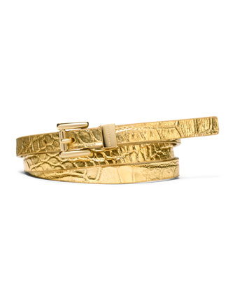 Metallic Crocodile-Embossed Belt