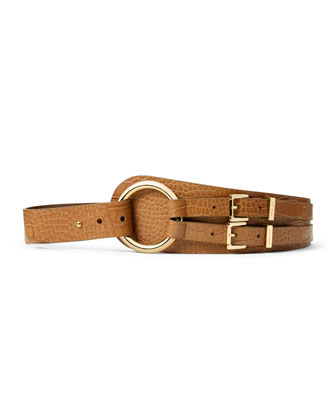 Crocodile-Embossed Double-Buckle Belt