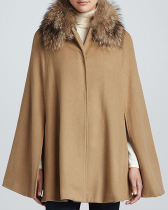 Fox-Trim Cape, Camel