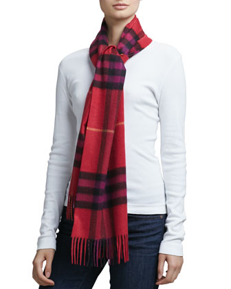 Giant Icon Check Cashmere Scarf, Pink
