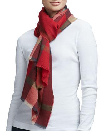 Luxe Fine Cashmere Check Scarf, Red