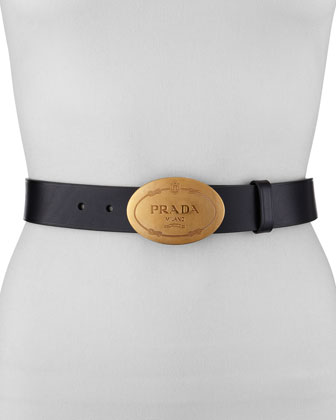 Leather Logo Belt, Black