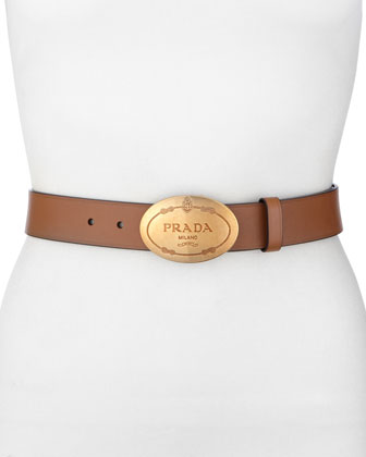 Leather Logo Belt, Cinnamon