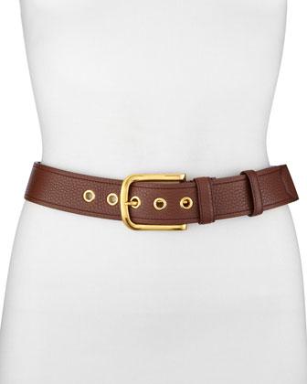 Classic Daino Leather Belt, Light Gray