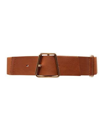 Ai-Buckle Stretch Leather Belt