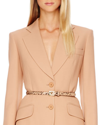 Two-Button Crepe Blazer, Side-Zip Crepe Pants & Python-Print Skinny Belt
