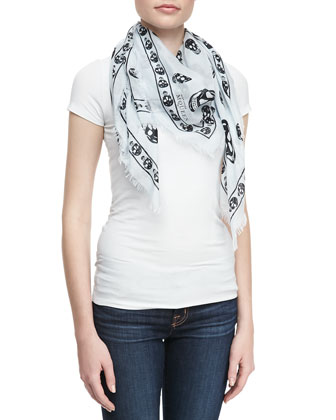 Skull-Print Chiffon Scarf, Light Blue/Black
