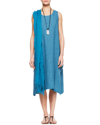 Pleated Sleeveless Dress, Linen Scarf & Crystal Pendant Necklace