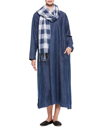A-Line Round-Neck Dress & Linen Scarf