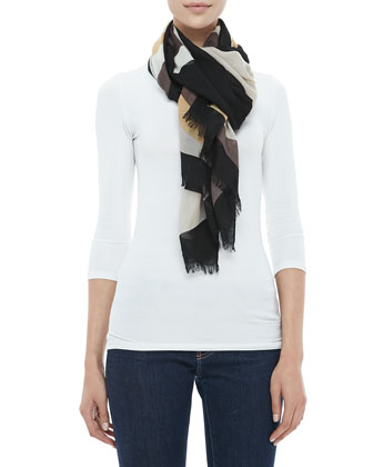 Reva Colorblock T-Logo Scarf, Black/Beige/White