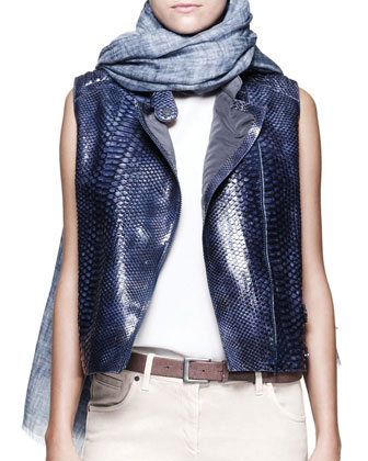 Python Moto Vest, Monili-Shoulder Top, Garment-Dyed Jeans, Printed Scarf & ...