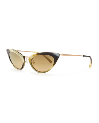 Grace Cat-Eye Sunglasses, Green/Honey