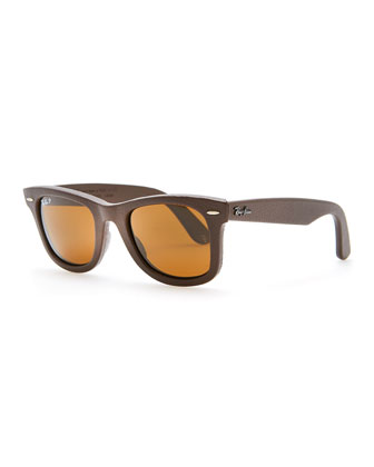 Leather-Wrapped Wayfarer Sunglasses, Brown