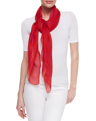 Skull-Print Silk Chiffon Scarf, Red/Pink