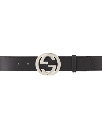 Smooth Leather Belt with GG Buckle, Black