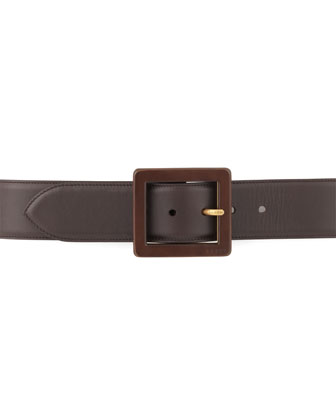 Square-Buckle Leather Belt, Brown