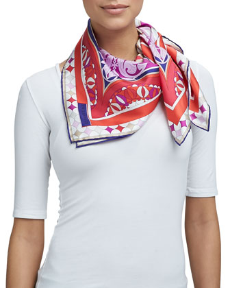 Pavimento Silk Square Scarf, Red