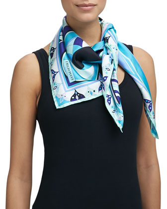 Tragara Silk Square Scarf, Blue