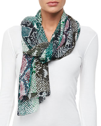 Python-Print Striped Silk Scarf, Multicolor