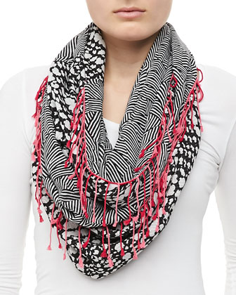 Sparkle Houndstooth Circle Scarf, Black/White