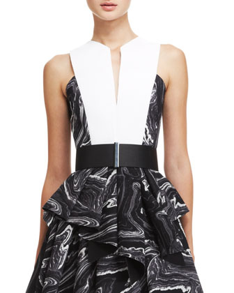 Neoprene V-Neck Flounce Dress & Leather/Brass Belt