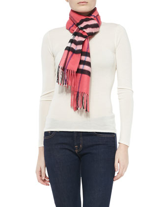 Giant-Check Cashmere Scarf, Rose
