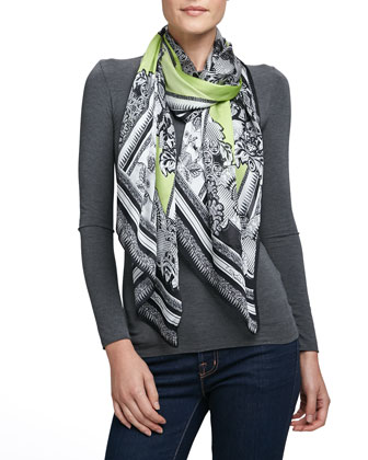 Nirvana Printed Light Silk Scarf, Lime/Multi