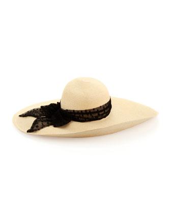 Sunny Wide-Brim Straw Hat, Bone/Black