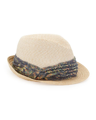 Craig Sequined Straw Fedora, White/Natural