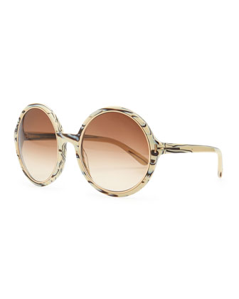 Carrie Striped Round Sunglasses, Ivory/Black