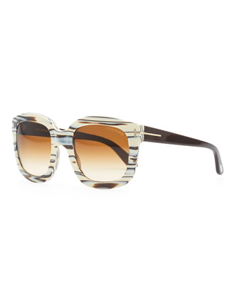Cristophe Square Sunglasses, Ivory/Brown