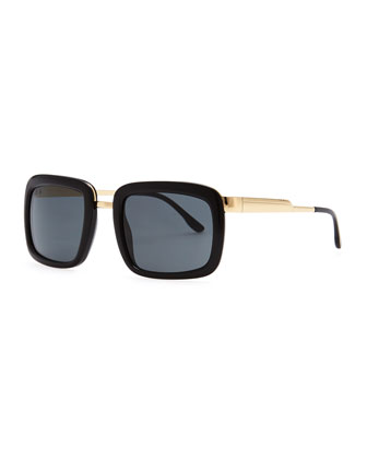 Chunky Square-Frame Sunglasses, Black