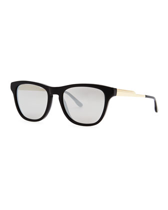 Mirrored Square Acetate Sunglasses, Black/Smoke