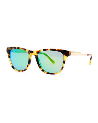 Mirrored Square Acetate Sunglasses, Spotty Tortoise/Green