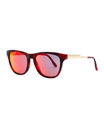 Mirrored Square Acetate Sunglasses, Bordeaux Tortoise/Red