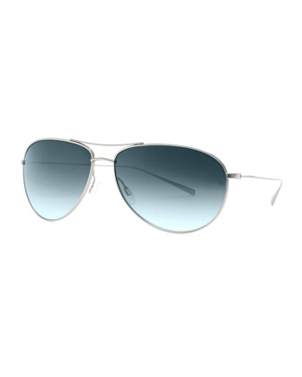 Tavener Mirrored Aviator Sunglasses, Silver