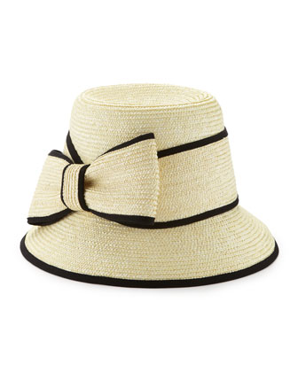 asymmetric fancy bow straw hat, natural/black