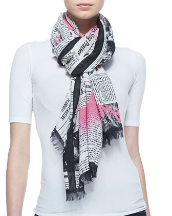 newspaper print scarf, black/cream
