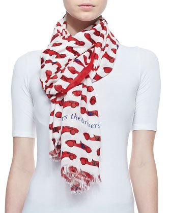 autobahn race car print scarf, red/cream
