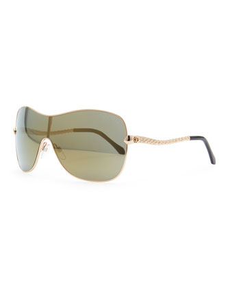 Agena Shield Sunglasses, Rose Golden