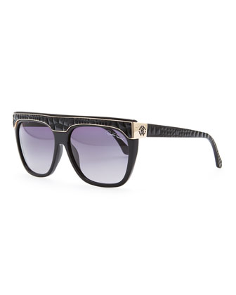Albireo Croc-Embossed Sunglasses, Black