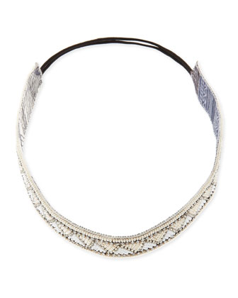 Geometric-Beaded Headband, Ivory