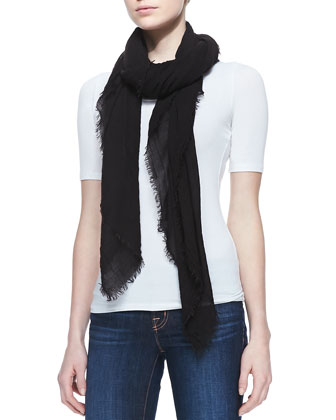 Crinkled Gauze Scarf, Black
