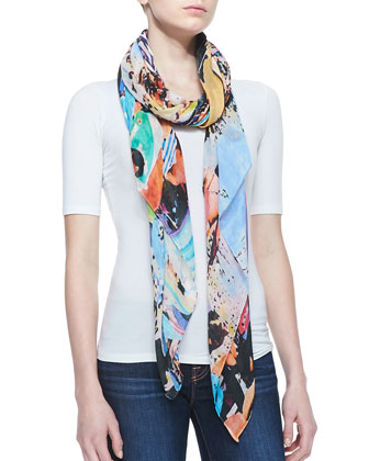 Wipeout Beach-Print Scarf, Blue/Multi