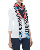 New Tiger Head & Stripes Scarf, Blue/Red/Black