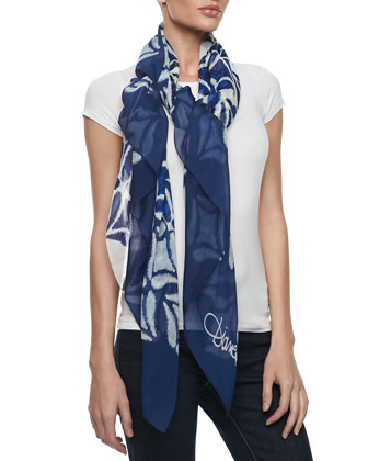 Eaden Medallion Scarf, Navy/White