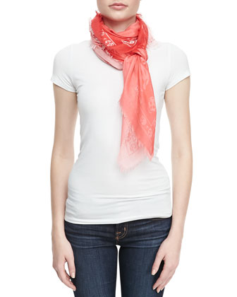 Skull-Print Degrade Scarf, White/Red