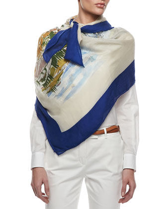 Italy Travel Shawl, Cream/Blue/Multi