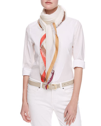 Quadrata Color-Bordered Square Scarf, White